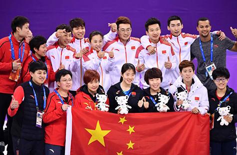 中國隊獲得平昌冬奧會短道速滑男子5000米接力銀牌