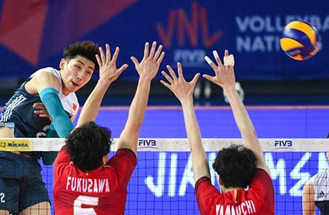 世界男排联赛江门站:中国胜日本
