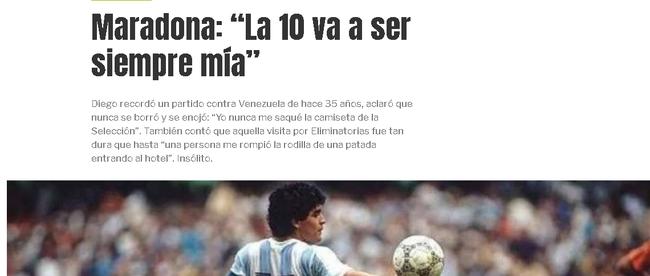 马拉多纳:阿根廷10号永远是我
